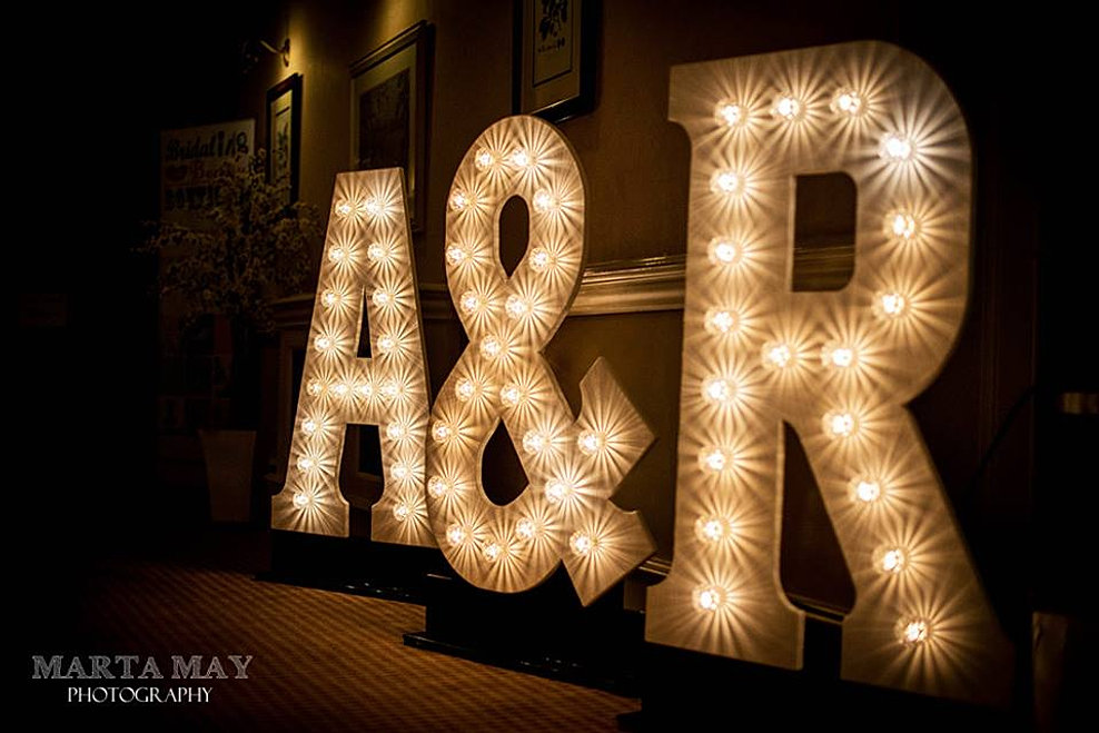 lighting letters. big initials wedding lights letters lighting