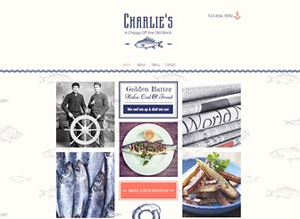 Fish & Chips Restaurant Template - A retro take on the traditional fish and chip shop, this friendly website template is perfect for restaurants, pubs and bars alike. Reel in your customers by personalizing the review page and customize the menu to get mouths watering. Create a storm today and start editing now!