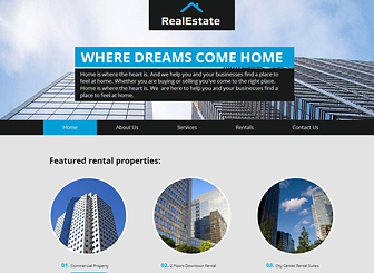 Real Estate Template - Take your real estate firm to the next level with this sharp website template. Create an elegant photo gallery of properties and customize the text to advertise your services. Start editing to craft a polished website that stands out from the crowd!