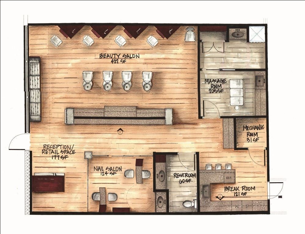 Interior design graduate for Design a beauty salon floor plan