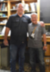 Fender Master Builder Todd Krause with Gary Davies at the Fender Custom Shop in Corona California