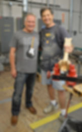 Master Builder Steven Stern with Gary Davies at the Fender Custom Shop Gretsch Custom Shop in Corona California