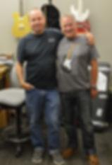 Fender Master Builder Scott Buehl with Gary Davies at the Fender Custom Shop in Corona California