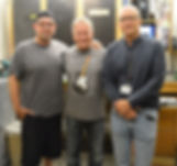 Fender Master Builder Jason Smith and George Blanda with Gary Davies at the Fender Custom Shop in Corona California