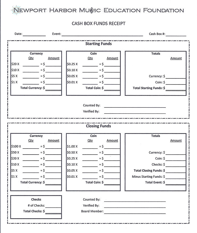 Cash And Check Receipt/forms. Cash Box Funds Receipt Check Requisition Form  Check Receipt Template