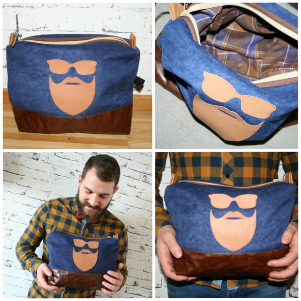 Waschbag mit Moustache Applikation