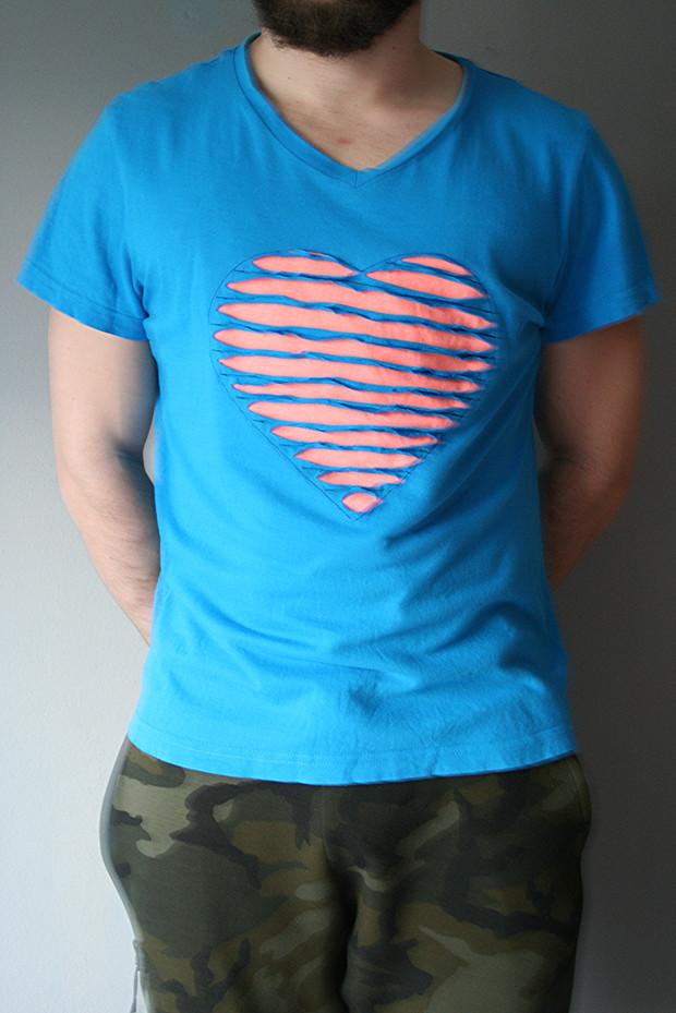 Valentinstag Tshirt mit Herz nähen Chenille Technik