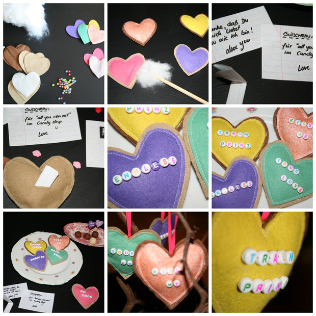 Filz Herz Liebes Botschaft diy