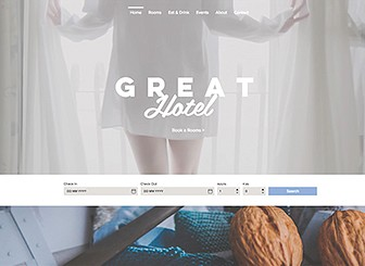 Great Hotel Template - Clean and inviting, this template provides you with all the features you need to promote your great hotel! Manage bookings straight from your website, showcase your amenities and facilities, and do it all with style. Featuring stunning parallax design and beautiful video backgrounds, this template is a prime way to entice guests to book their stay with you.
