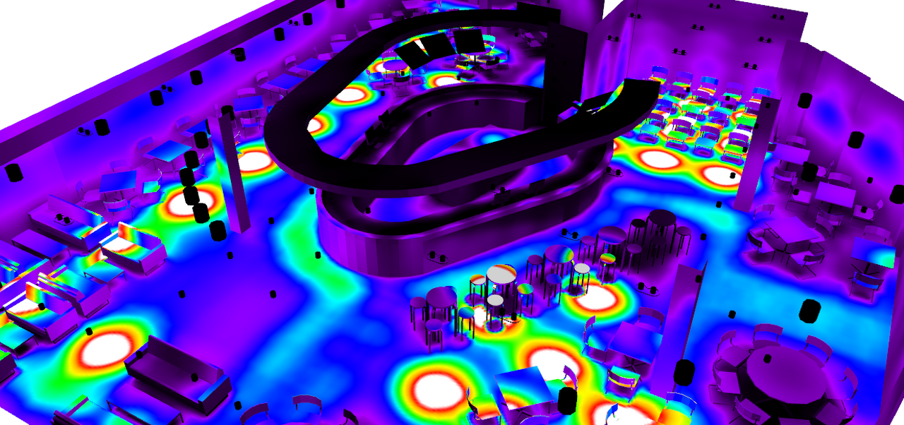 false colour lighting design model 3d of resteraunt cafe lighting hotel cafe lighting design