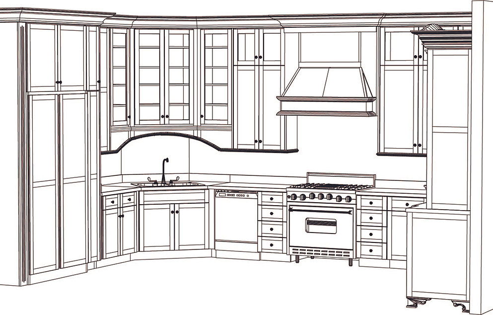 Kitchen cabinet blueprint drawings for Drawing kitchen cabinets