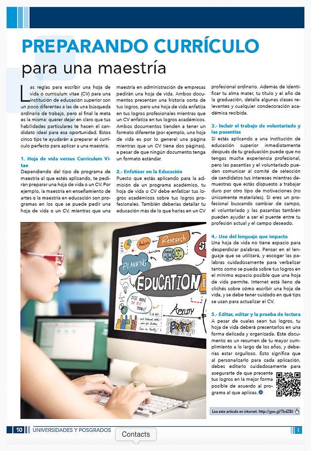 Preparando currículo para una maestría | PRODEDIM | PRODUCCIÓN Y ...