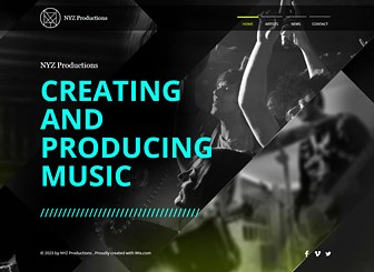 Music Production Template - An edgy website template tailor-made for the music industry, this is a great platform for any music producers or managers wishing to build an online presence. Upload photos, music and videos and edit the text to keep your visitors up-to-date with the latest events from your artists. Keep the contrasting color palette or customize the colors to suit your style and make a template that's as unique as your music production company.