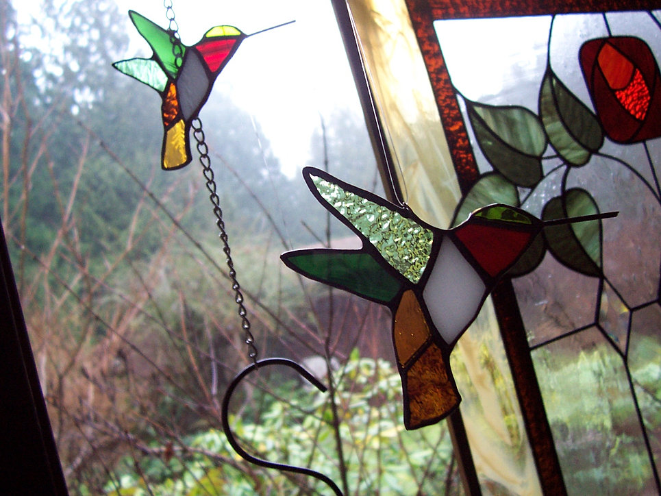 Hummingbirds Stained Glass