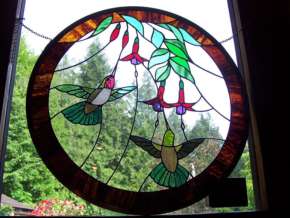 """Hummingbirds and Fuchsias"" Glass"