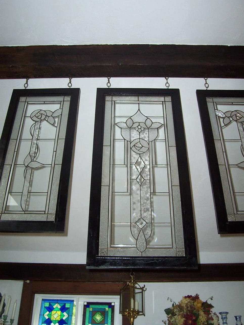 Series of three glass panels