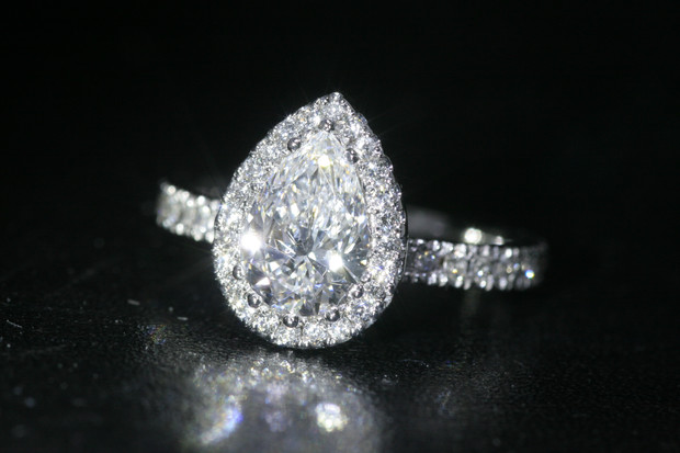 D Ks Pear Shaped Cluster Engagement Ring Bespoke Engagement