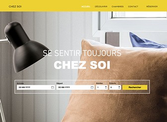Location d'Appartements Template - Attract visitors to your hotel with this warm and eye-catching full-screen website template. With the booking engine placed centrally on the Home Page, it has never been so easy to attract visitors to your hotel. Customize the About Page to list your hotel's local attractions and amenities and personalize the contact page so your guests know where to find you. Start editing today to give your hotel a professional online presence.