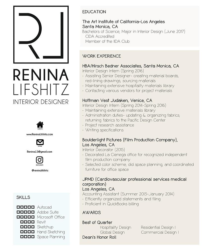 Renina Lifshitz – Interior Decorator Resume