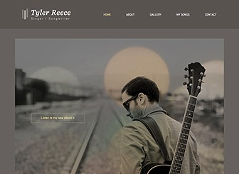 Singer Songwriter Template - With warm, indie undertones, this website template is a great platform to attract and engage fans. Perfect for singers and songwriters,simply customize the images and text to create a personal touch to your website. Use the inner pages to showcase your talents by adding your own songs. Start editing now and watch your music career takeoff!