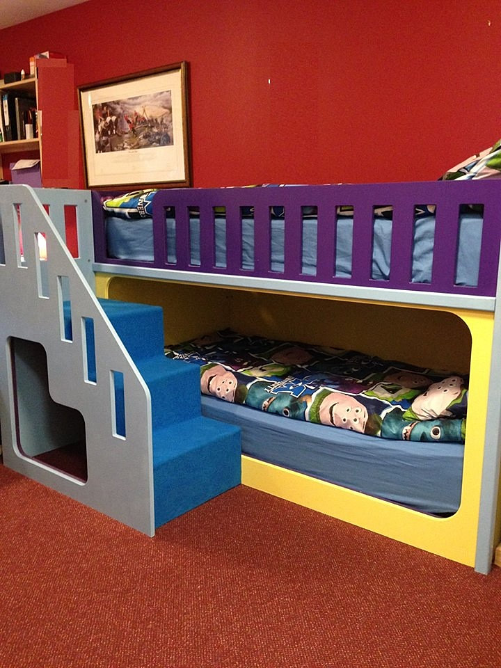 Children s playhouse beds bunk bed with stairs to left front