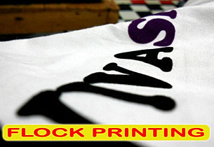 Flock printing, sablon beludru, sablon flock, silkscreen print, manual print, apparel print, t-shirt print
