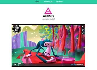 アニメーションスタジオ Template - いきいきとしたデザインがホームページに命を吹き込む、デザイナー、アニメーター向けテンプレートです。動画と写真ギャラリーで作品を紹介し、ソーシャルメディアやお問い合わせフォームで訪問者と連絡を取ることができます。