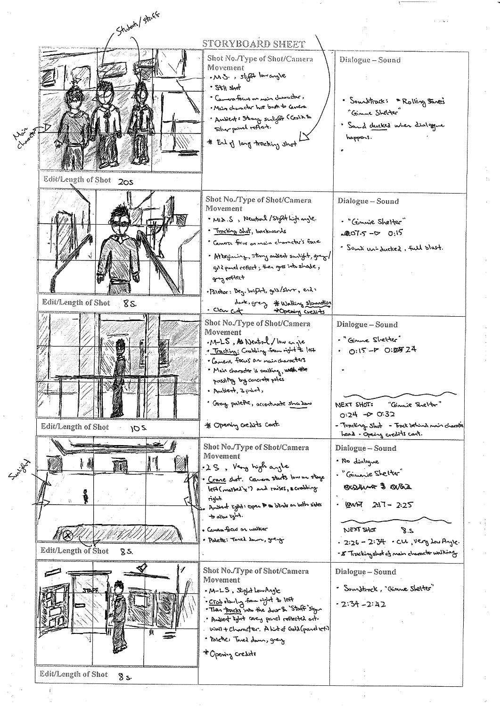kgvmedia film and media studies – Storyboard Sample
