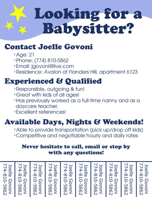 Blank Babysitting Flyers Babysitting Tear-away Flyer