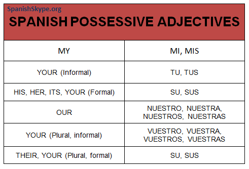 Spanish possessive adjectives | One on one Spanish lessons via ...