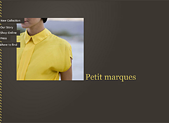 Petit Collection Template - Don't add too much fuss to your new fashion collection. Allow the simple surrounding touches of this layout to highlight your work. Add your story, press links and a location map, and customize it for all your specific industry needs.