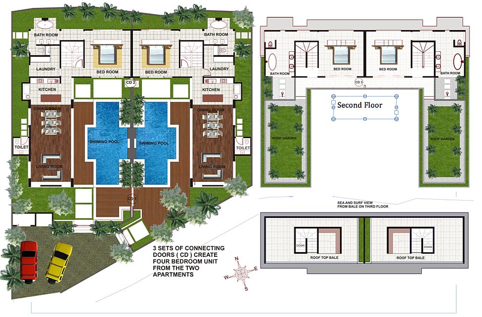 Pantai indah villas bali holiday rental floor plans for House plans with virtual walk through
