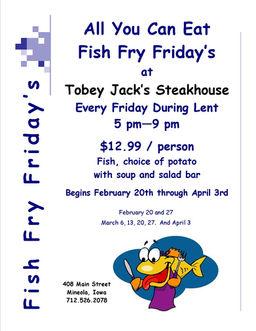 Tobey jacks mineola steakhouse mineola iowa blog for All you can eat fish