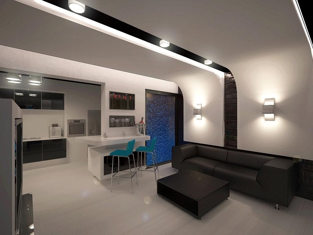 контрастные элементы в двух зонах, например фото обои, динамичные линии; оформления потолка и пола, например, потолок, будет объединять