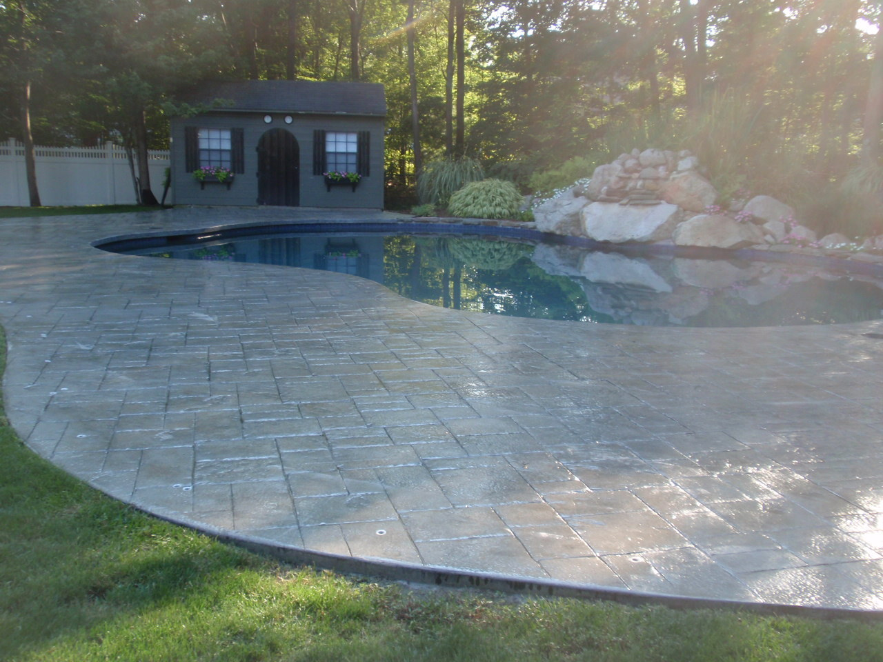 Swimming Pool Deck Cleaning : Stamped concrete in new england