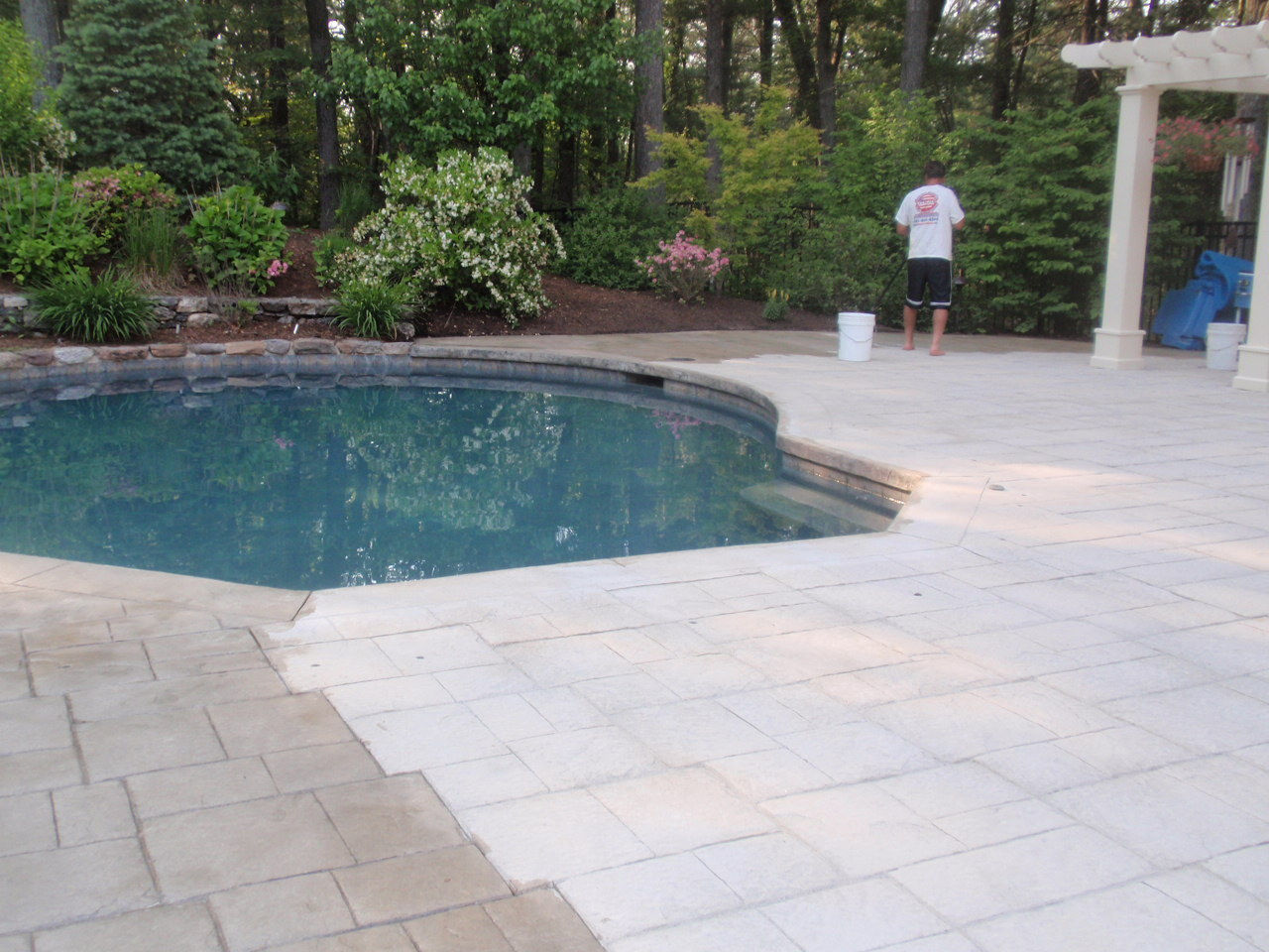 Sealing exposed aggregate pool deck -  Pool Patio Deck Stamped Concrete Sealing