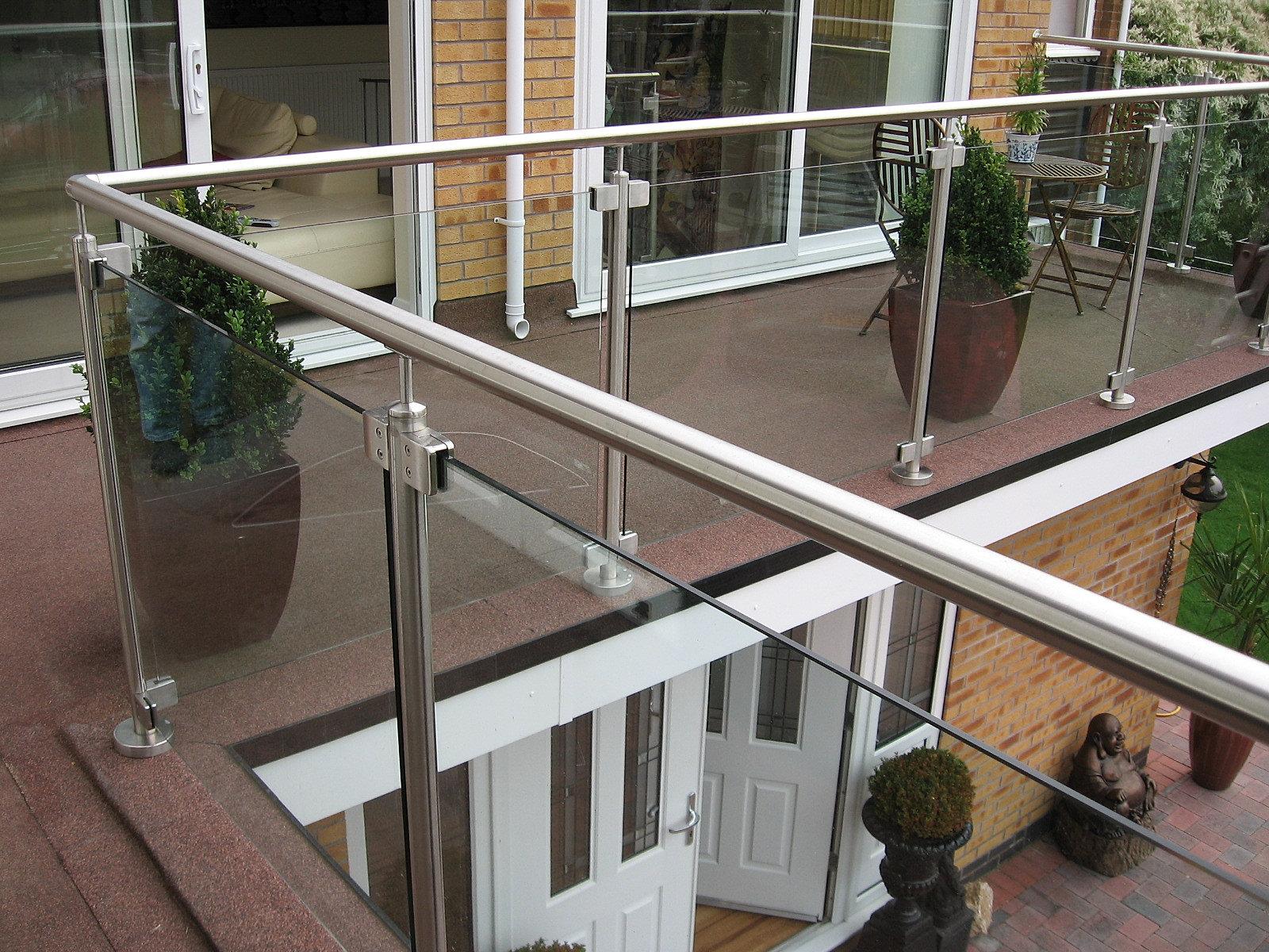 Glass railings.
