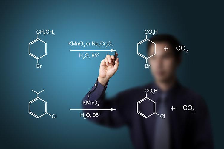 chemistry teacher writing scientific  fo
