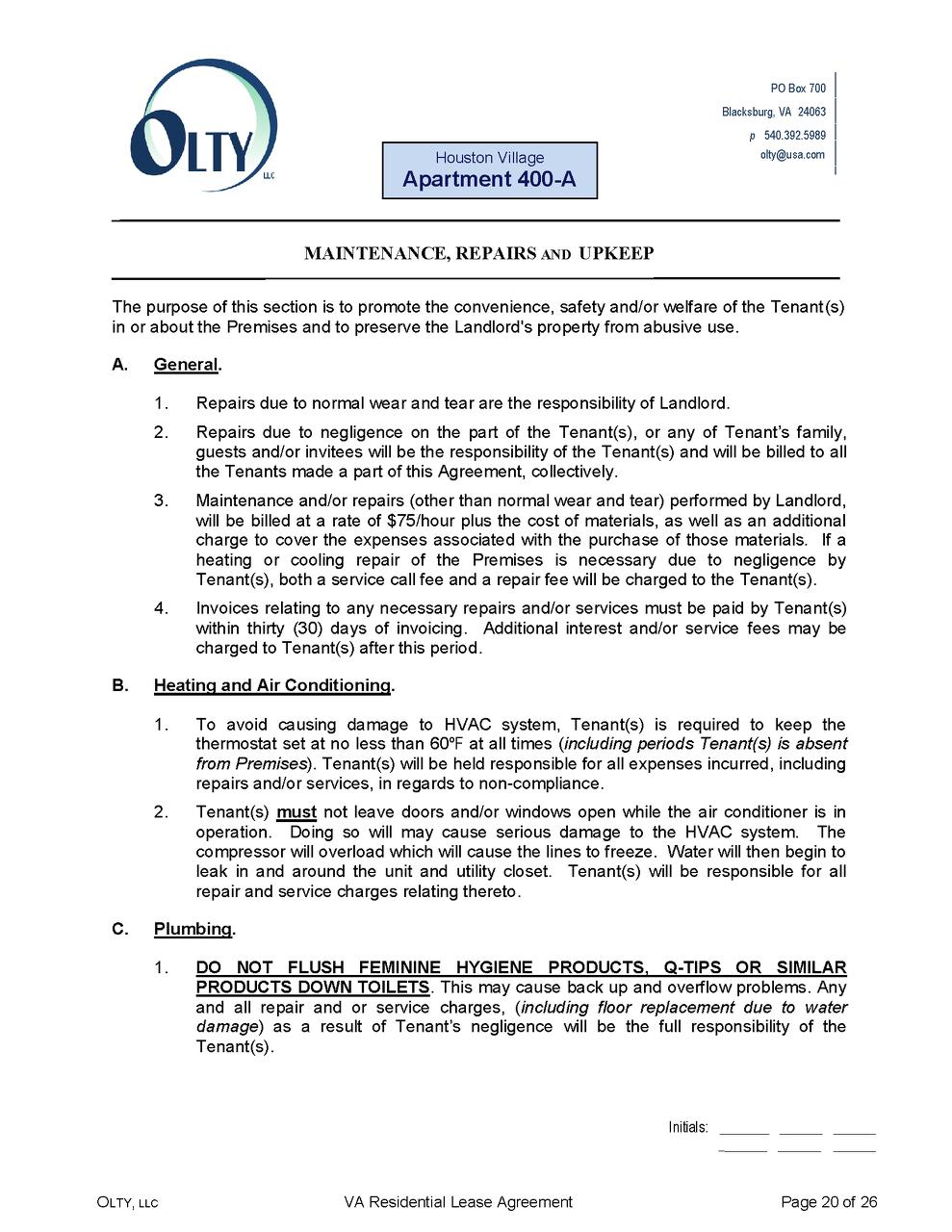 Olty rental property management blacksburg va lease agreement 400apage20 falaconquin
