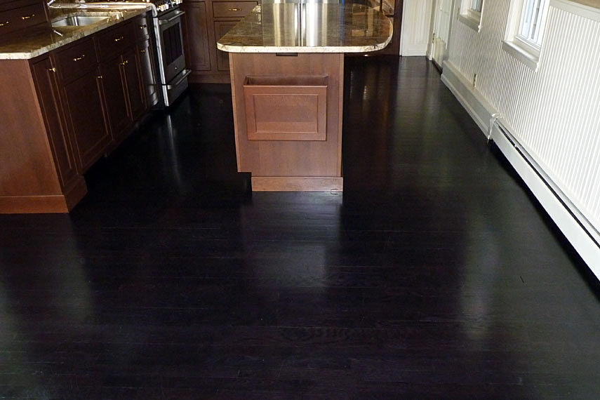 staining hardwood floors black