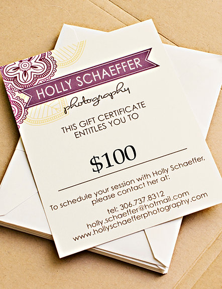 Wedding Gift Check Payable To : Holly Schaeffer Photography Gift Certificates