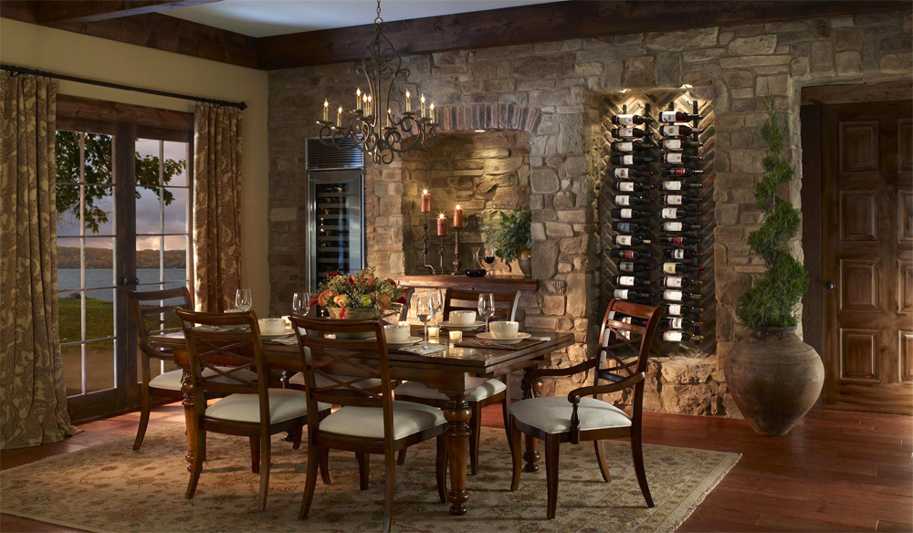 custom wine cellars storage solutions dining room with stone walls