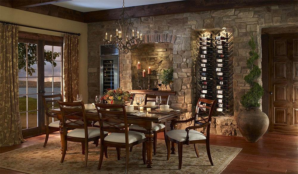 Dining room with stone walls - Paredes decoradas con piedra ...