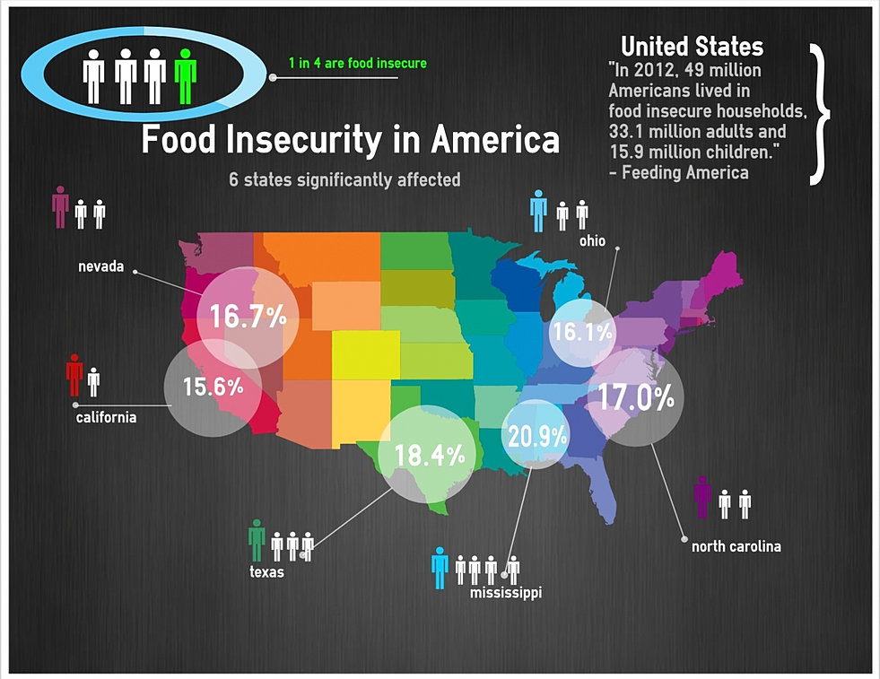 food insecurity Food security comprises several different components, including food access, distribution of food, the stability of the food supply, and the use of food food insecurity is part of a continuum that includes hunger (food deprivation), malnutrition (deficiencies, imbalances, or excesses of nutrients), and famine.
