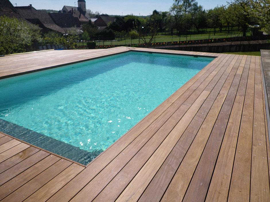 contour piscine ipe du bresil - Abri Piscine Bois Lamelle Colle