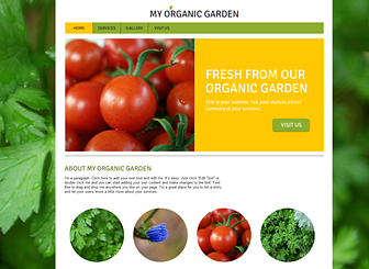 Garden Services Template - Featuring a clean layout and garden-inspired background, this template is as fresh as your produce!  The boxed sections and tabbed menu create a structured feel, while the circular icons give the photo gallery a stylish edge. Start editing to promote your gardening or agricultural business with your own unique website!