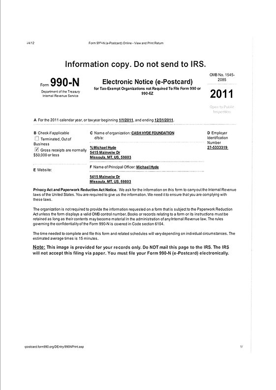 Cash Hyde Foundation Pediatric Cancer Awareness Form 990 N