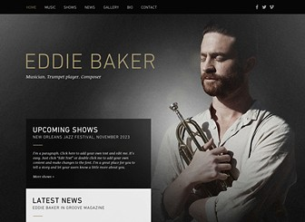 Jazz Musician Template - Put your music in the limelight with this simple, yet sophisticated website template. It's smoky ambiance echoes jazz bar shadows and dim dinner theaters. Advertise your upcoming shows, recent press, and sell your music straight from your website!