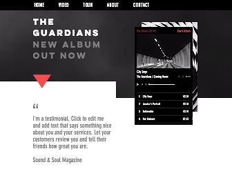질주하는 밴드 앨범 발매 Template -  무게감 있는 템플릿 디자인으로 밴드들의 마음을 사로잡을 이 템플릿으로 앨범 발매 및 홍보 홈페이지를 시작하세요. Wix 뮤직 기능으로 방문자들은 언제 어디서나 내 음악을 감상 및 공유할 수 있습니다.