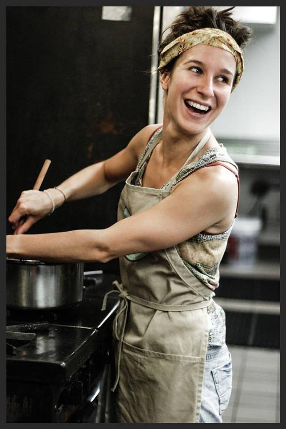 Chef Chloe mixing warm chocolate